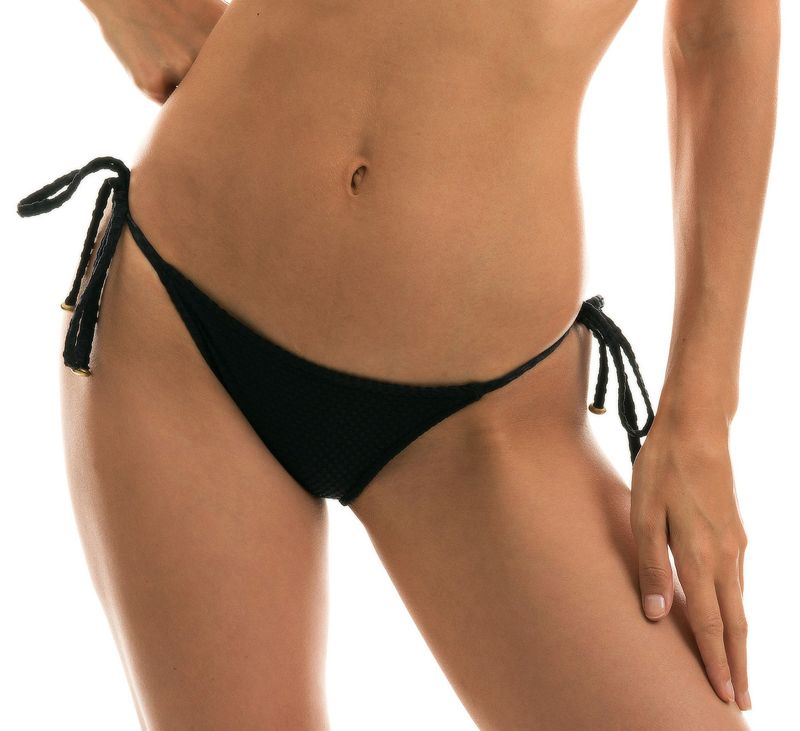 Black side-tie textured Brazilian bikini bottom - BOTTOM CLOQUE PRETO BALCONET