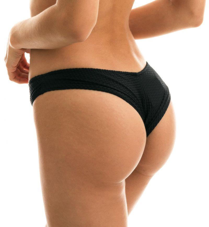 Black scrunch bikini bottom textured fabric - BOTTOM CLOQUE PRETO BANDEAU