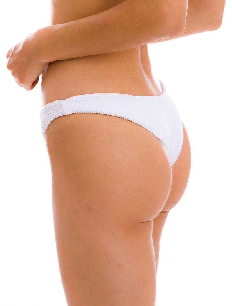 Textured white high-leg fixed bikini bottom - BOTTOM COTELE-BRANCO LISBOA