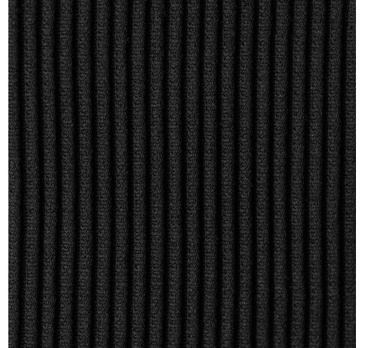 黒いリブ編みのサイド結びブラジリアンビキニボトム - BOTTOM COTELE-PRETO IBIZA