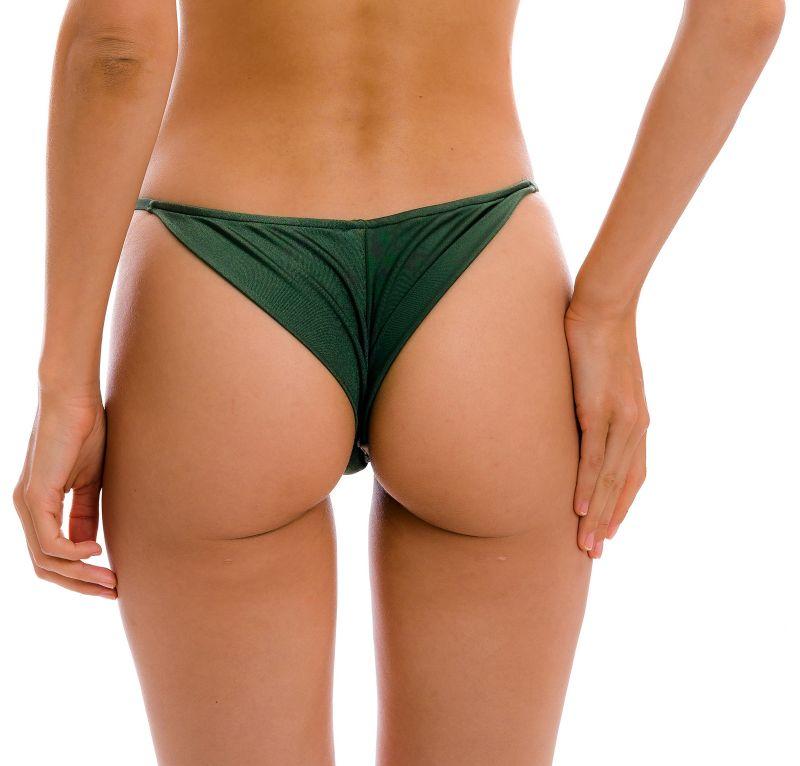 Dark green cheeky Brazilian bikini bottom with slim sides - BOTTOM CROCO CHEEKY-FIXA