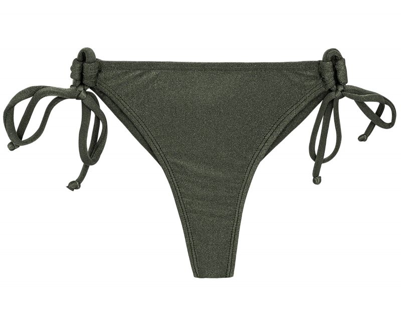 Khaki side-tie bikini bottom - BOTTOM CROCO DETAIL