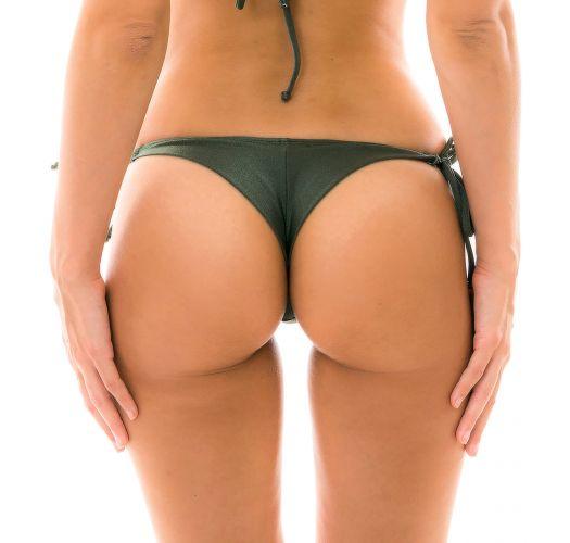 Khaki side-tie bikini bottom - BOTTOM CROCO DETAIL