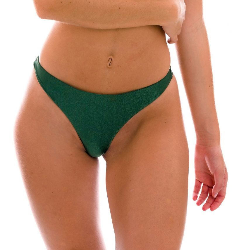 Iridescent dark green thong bikini bottom - BOTTOM CROCO FIO