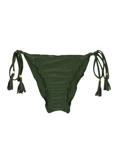 Skrynklad brasiliansk bikininederdel, kakifärgad med vågiga kanter - BOTTOM CROCO FRUFRU