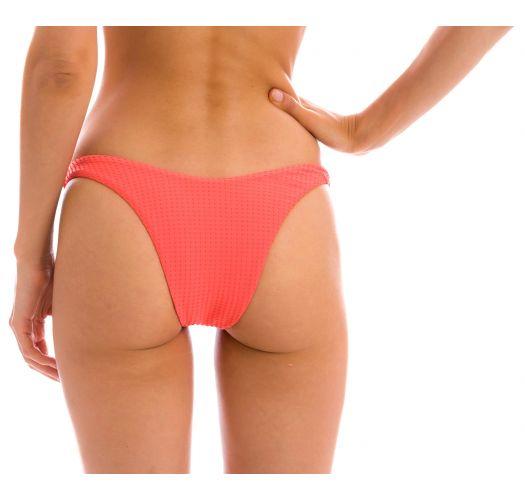 Embossed textured coral pink high leg bikini bottom - BOTTOM DOTS-TABATA HIGH-LEG