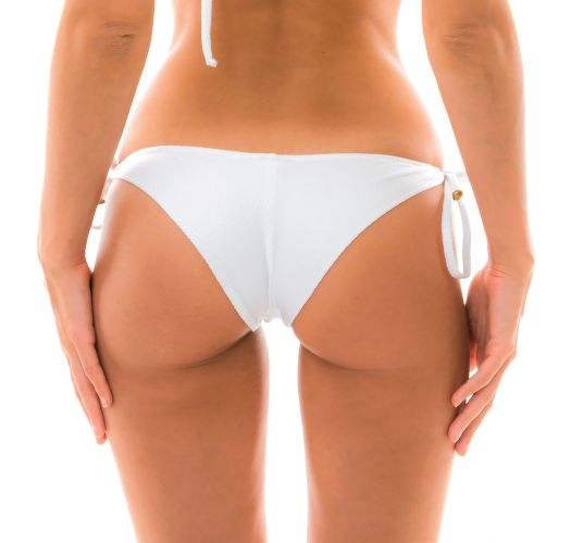 Textured and accessorized white bikini bottom - BOTTOM DUNA TRI BRANCO