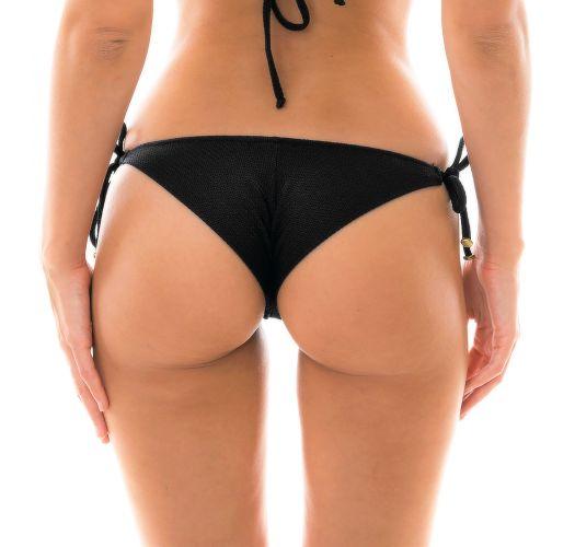 Textured and accessorized black bikini bottom - BOTTOM DUNA TRI PRETO