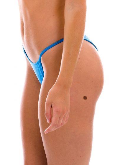 Textured blue cheeky bikini bottom with thin sides - BOTTOM EDEN-ENSEADA CHEEKY-FIXA