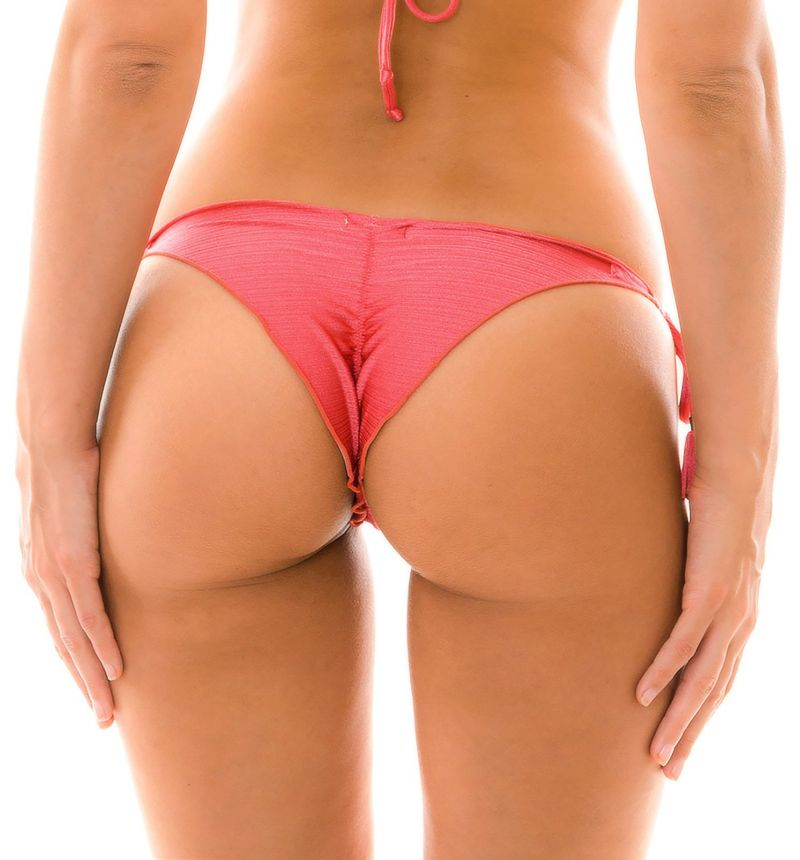 Iriserande rosa skrynklad brasiliansk nederdel med tofsar - BOTTOM FLORENCE FRUFRU