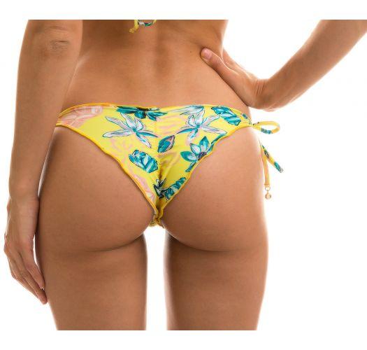 Floral side-tie scrunch bikini bottom -BOTTOM FLORESCER FRUFRU