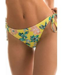 Accessorized yellow floral side-tie bikini bottom - BOTTOM FLORESCER HIGH COMFORT