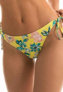 Ozdobne żółte figi do bikini w kwiaty - BOTTOM FLORESCER HIGH COMFORT