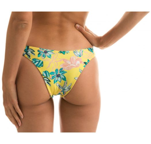 Yellow high-leg bikini bottom in floral print - BOTTOM FLORESCER HIGHLEG
