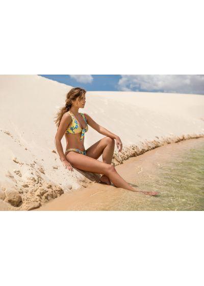 Yellow high-leg bikini bottom in floral print - BOTTOM FLORESCER HIGHLEG