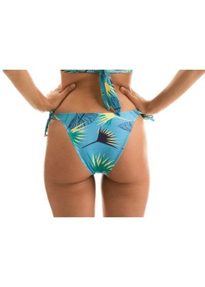 Accessorized blue graphic side-tie bikini bottom - BOTTOM FLOWER GEOMETRIC TRANSP COMFORT