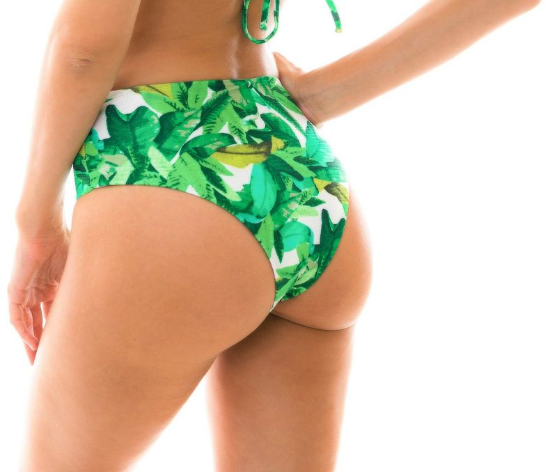 Green high-waisted bikini bottom - BOTTOM FOLHAGEM HOT PANT