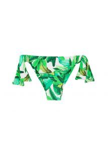 Grünes Side-Tie-Bikini-Höschen mit Blätter-Print - BOTTOM FOLHAGEM TRANSPASSADO