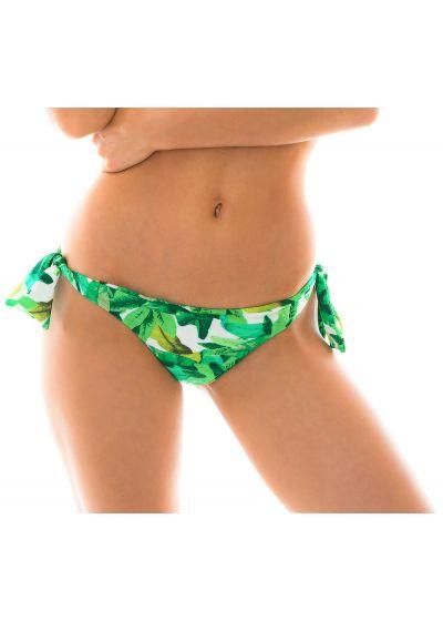 Green leaves side-tie bikini bottoms - BOTTOM FOLHAGEM TRANSPASSADO