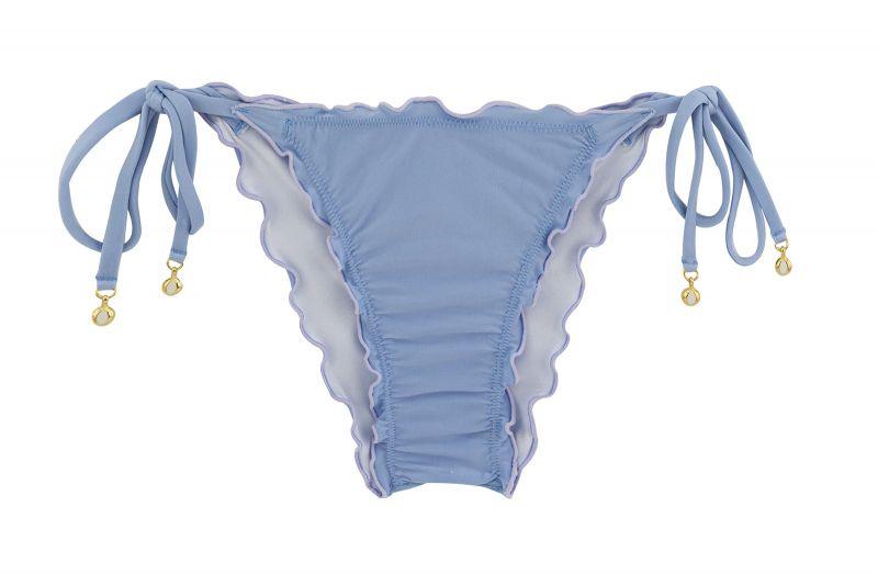 Accessorized denim blue scrunch bikini bottom - BOTTOM GAROA FRUFRU