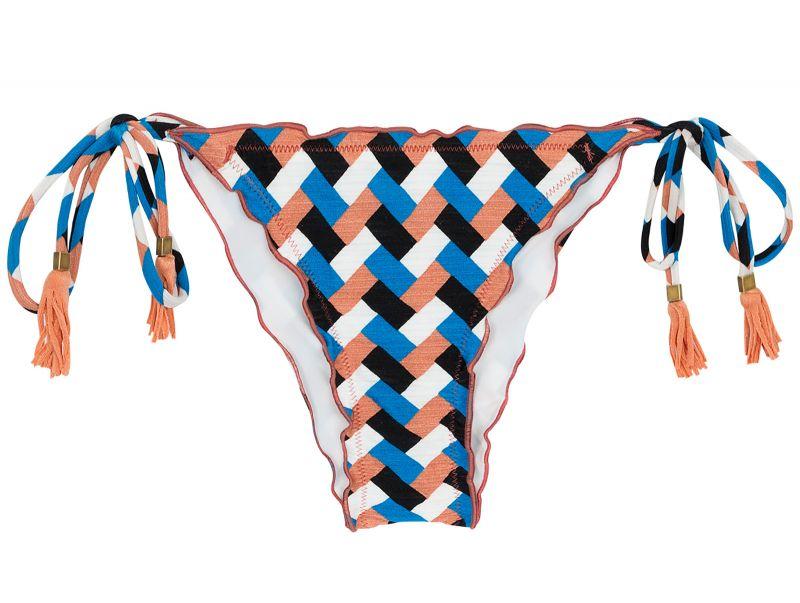 Bikininederdel med knytning i sidorna, geometriskt tryck - BOTTOM GEOMETRIC FRUFRU