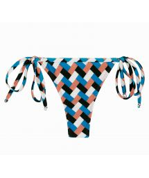 Colorful geometric side-tie string bikini bottom - BOTTOM GEOMETRIC MICRO
