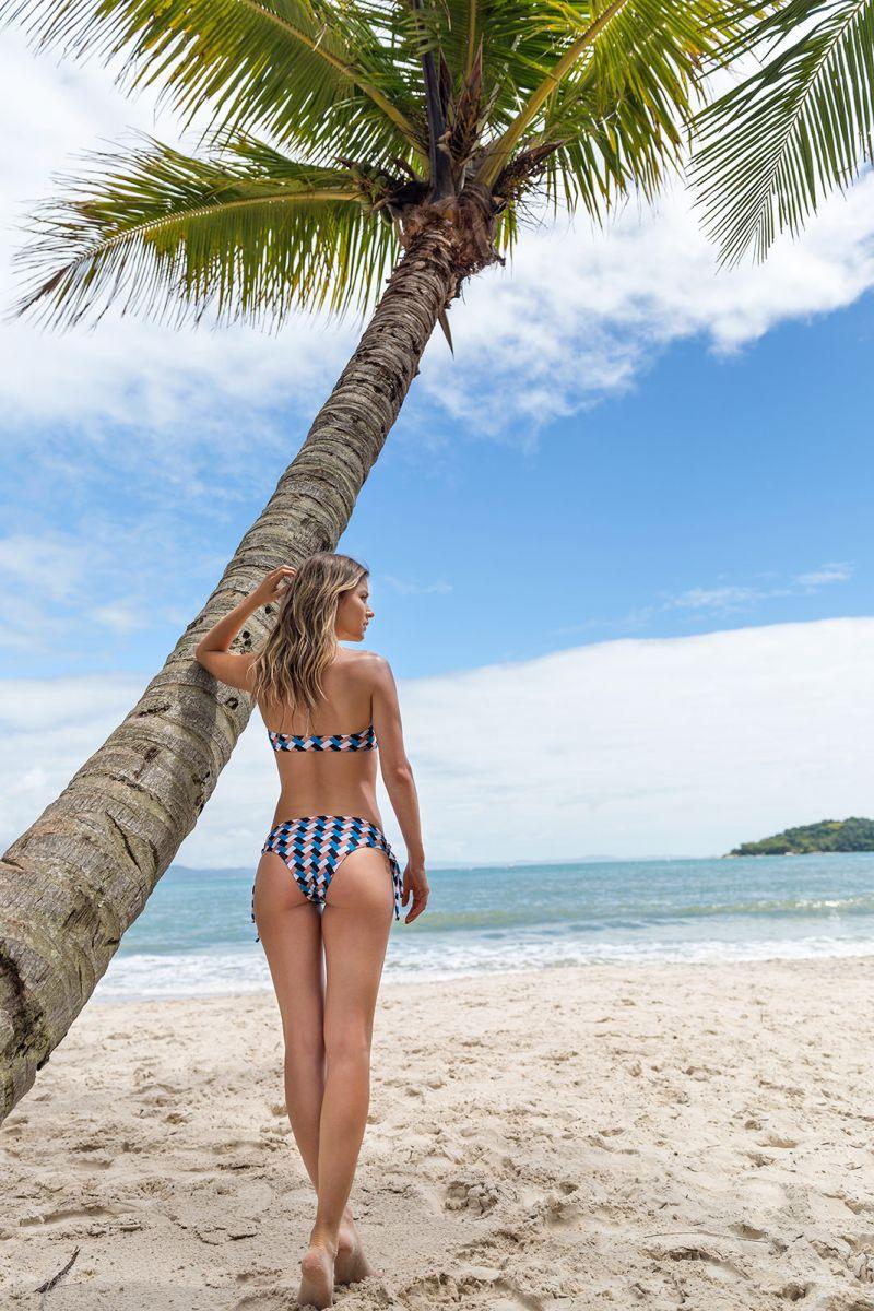 Geometric print bikini bottom with side laces - BOTTOM GEOMETRIC RETO