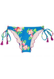 Side-tie floral blue scrunch bikini bottom with pompons - BOTTOM HOOKERI BALCONET