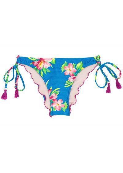 Brasiliansk skrynklad nederdel med tofsar, blommönster på blå botten - BOTTOM HOOKERI BALCONET