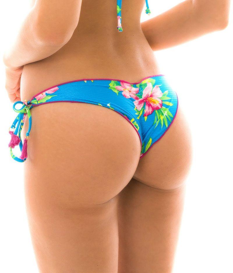 Side-tie floral blue scrunch bikini bottom with pompons - BOTTOM HOOKERI BALCONET