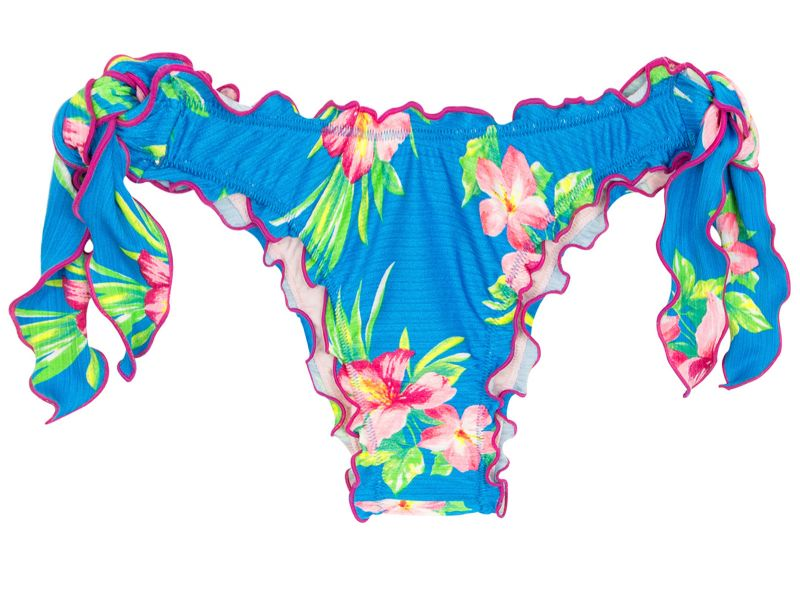 Brasiliansk, skrynklad nederdel med knytband, blommönster på blå botten - BOTTOM HOOKERI BANDEAU
