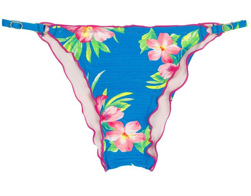 Reglerbar, skrynklad badtanga, blommönster på blå botten - BOTTOM HOOKERI FRUFRU FIXO