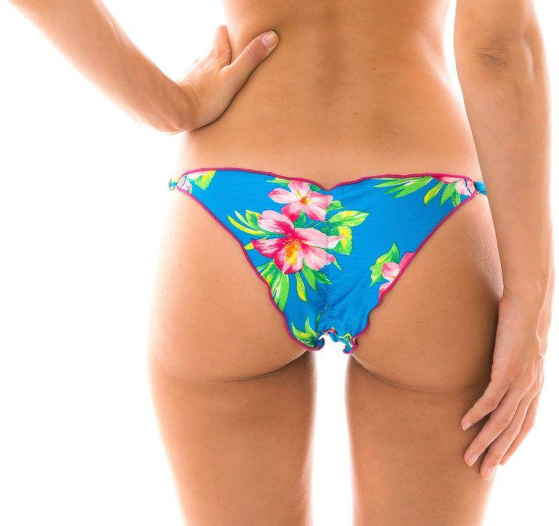 Adjustable floral blue scrunch bikini bottom - BOTTOM HOOKERI FRUFRU FIXO
