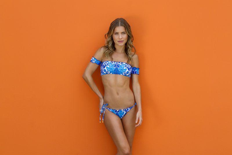 Blue and white side-tie string scrunch bikini bottom - BOTTOM HORTENSIA FRUFRU