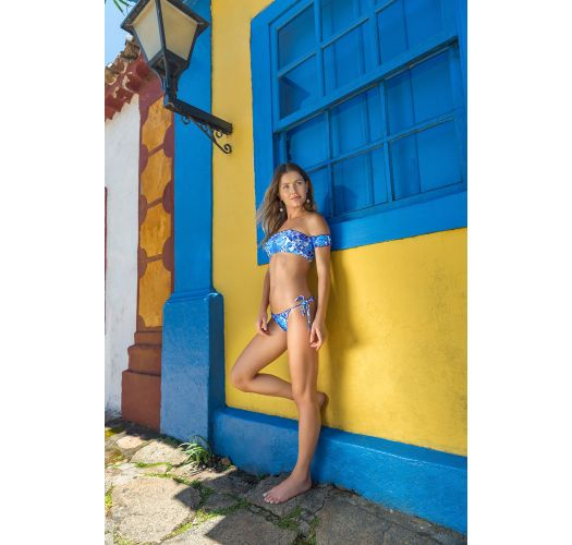 Blue and white side-tie string scrunch bikini bottom - BOTTOM HORTENSIA FRUFRU