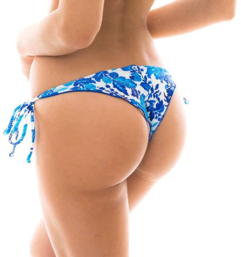 Blue and white side-tie scrunch bikini bottom - BOTTOM HORTENSIA OFF SHOULDER