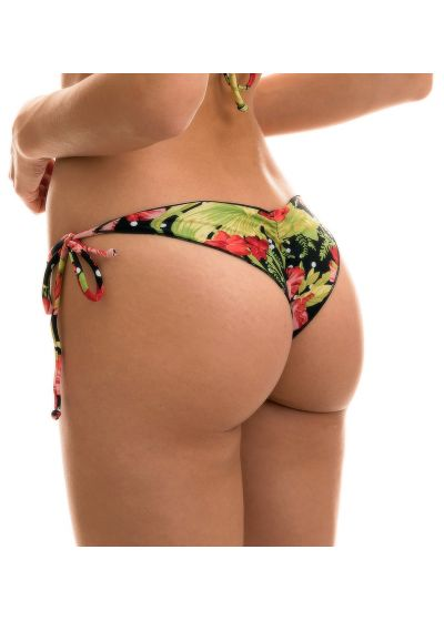 Scrunch side-tie bikini bottom in flowers and polka dot print - BOTTOM ILHA BELA FRUFRU