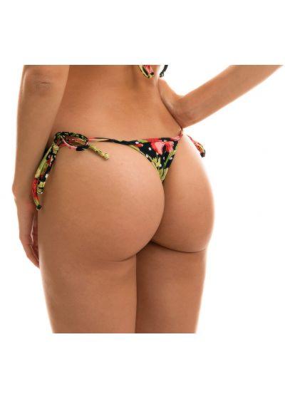 Side-tie string bikini bottom in floral and polka dot print - BOTTOM ILHA BELA MICRO