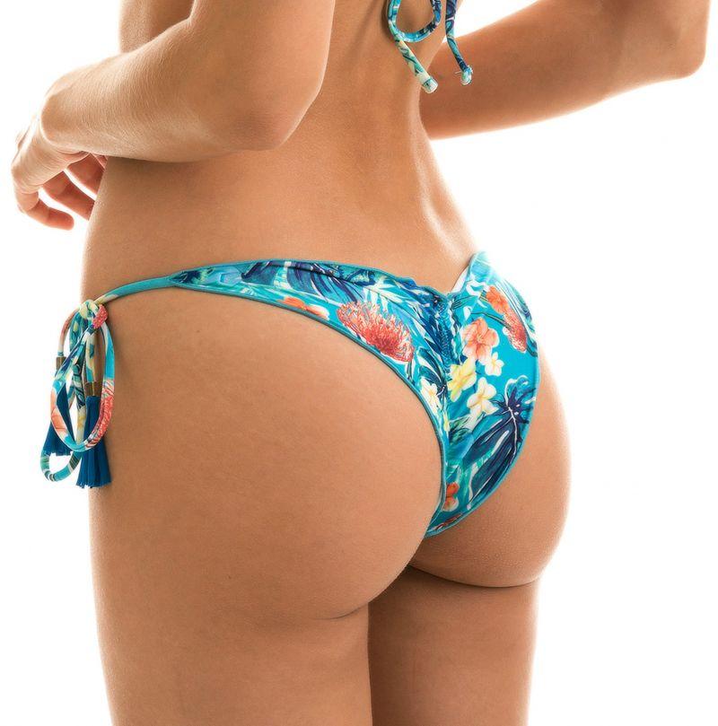 Floral blue side-tie scrunch bikini bottoms - BOTTOM ISLA FRUFRU
