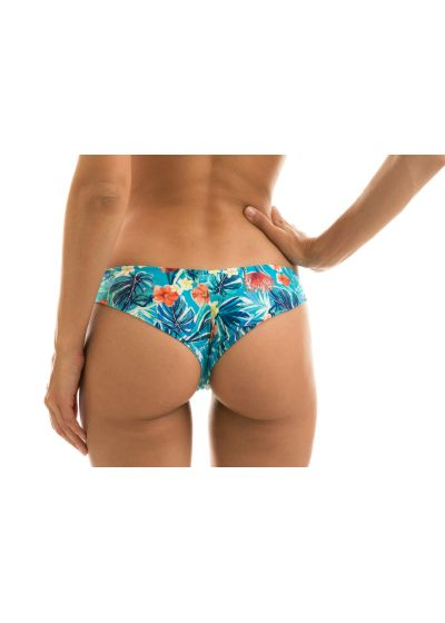 Floral blue fixed Brazilian cheeky bikini bottom - BOTTOM ISLA RETO