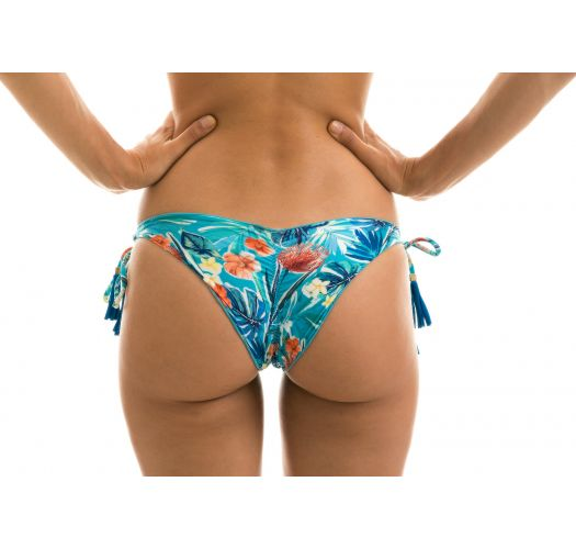 Blue floral Brazilian bikini bottom with pompoms - BOTTOM ISLA TRI FIXO