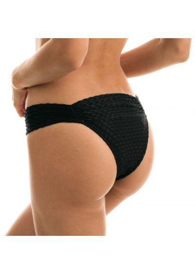 Black textured Brazilian bikini bottoms - BOTTOM KIWANDA PRETO BANDEAU