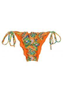 Scrunch side-tie bikini bottom in colorful geometric print - BOTTOM LAMPEDUSA FRUFRU