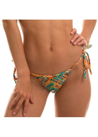 Side-tie string bikini bottom in colorful geometric print - BOTTOM LAMPEDUSA MICRO