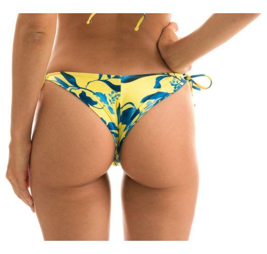 Accessorized plant yellow side-tie Brazilian bikini bottom - BOTTOM LEMON FLOWER INVISIBLE