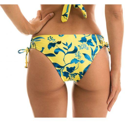 Yellow and blue print bikini bottom laced sides - BOTTOM LEMON FLOWER TRANSPASSADO