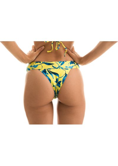 Yellow large waist band bikini bottom with plant print - BOTTOM LEMON FLOWER TRI COS
