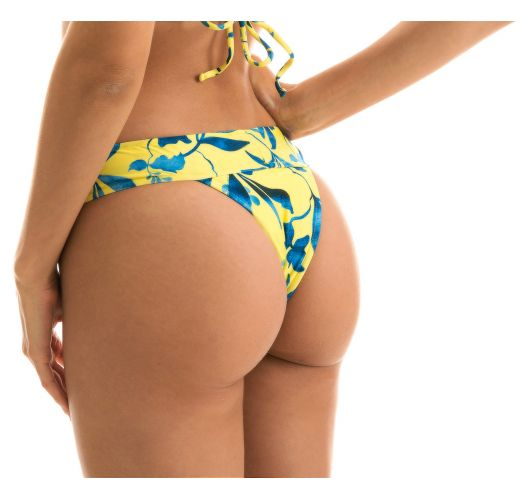 Yellow large waist band bikini bottom with plant print - BOTTOM LEMON FLOWER TRI COS