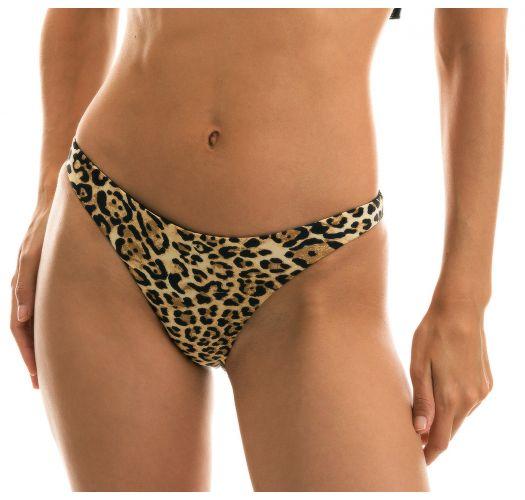 Fixed leopard print bikini bottom - BOTTOM LEOPARDO BLACK BABADO