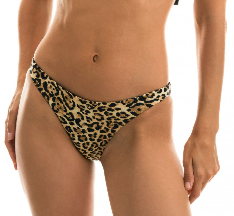 Fixed leopard print bikini bottom - BOTTOM LEOPARDO BLACK BABADO